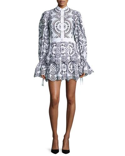 Embroidered Eyelet Fit & Flare Dress, Black/White