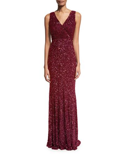 Xandra Hand-Embellished V-Neck Gown, Burgundy