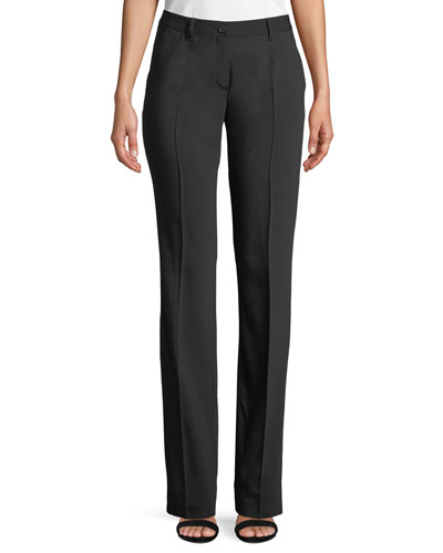 Mid-Rise Straight-Leg Wool Pants