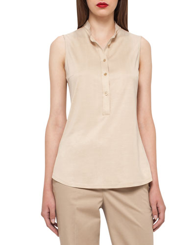 Sleeveless Silk Jersey Blouse, Champagne