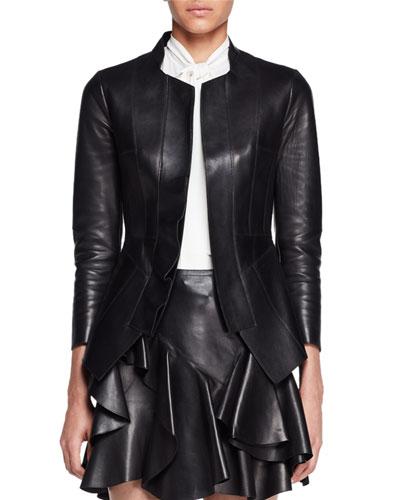 Bonded Leather Jacket, Black