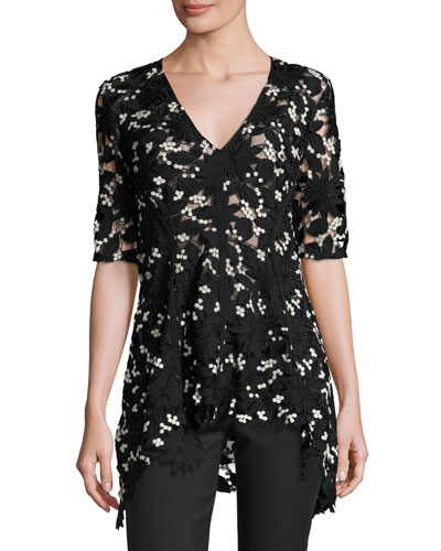 V-Neck Flared-Hem Lace Top, Black/Ivory