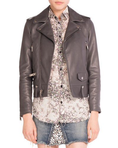 Leather Moto Jacket, Gray
