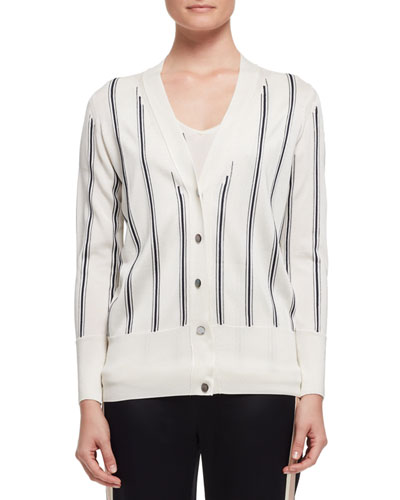 Vertical-Stripe V-Neck Cardigan, White/Black