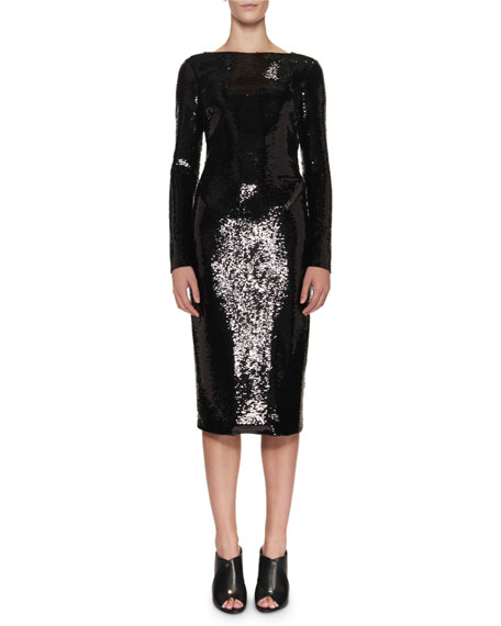 TOM FORD Sequined Zip-Trim Scoop-Back Long-Sleeve Dress