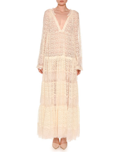 Long-Sleeve Boho Lace Maxi Dress, Ivory