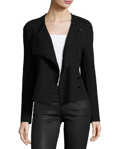 Textured Virgin Wool Jacket, Black