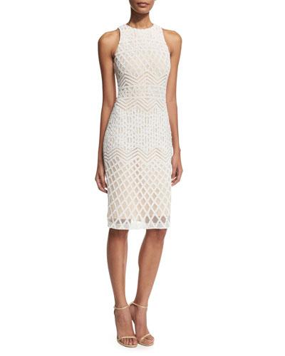 Olympia Linear-Beaded Cocktail Sheath Dress