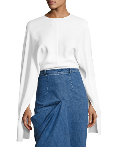 Cady Dolman Cape-Sleeve Top