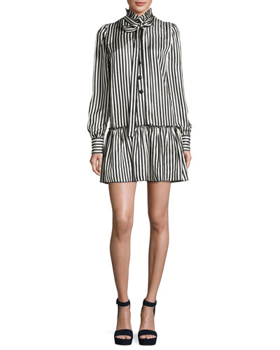 Satin Striped Drop-Waist Dress, Black/White