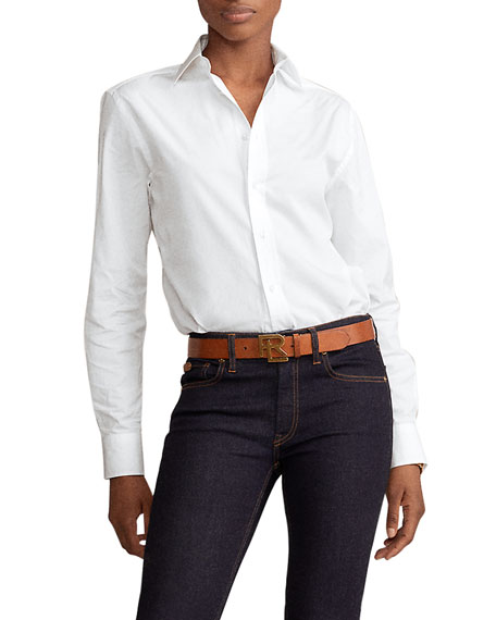 Ralph Lauren Collection High-Low Cotton Boyfriend Blouse, White