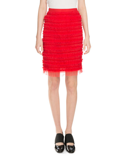 Striped Tulle Skirt, Red