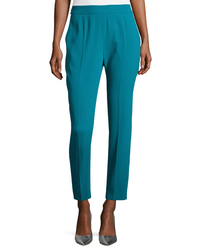 Tsisa Elastic-Back Ankle Pants, Bay