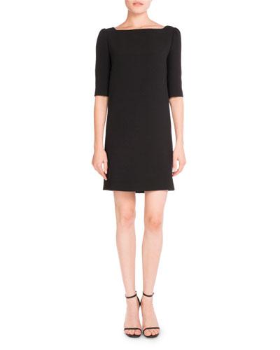 Half-Sleeve Classic Sable Dress, Black