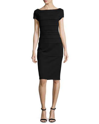 Striped Scuba Cap-Sleeve Dress, Black