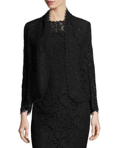 Eve Lace 3/4-Sleeve Jacket, Black