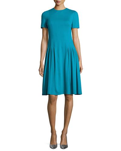 Short-Sleeve Dondi Pleated Dress, Bay