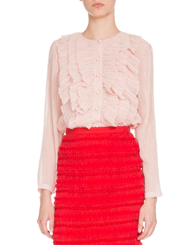 Long-Sleeve Ruffled Georgette Blouse, Light Pink