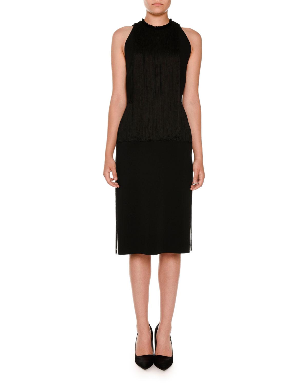 Sleeveless Fringed Pencil Dress, Black