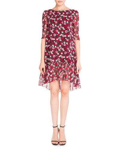 Half-Sleeve Poppy-Print Flutter Dress, Medium Red
