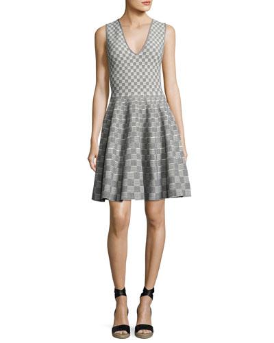 Sleeveless V-Neck Check Dress, Black/White