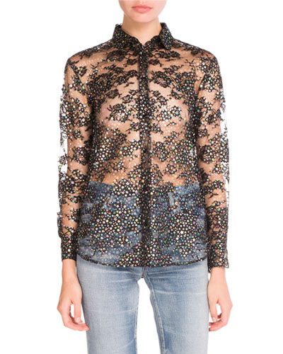 Glittered Star-Print Sheer Blouse, Black