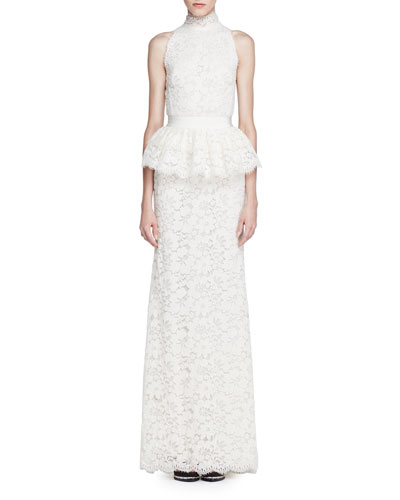 Mock-Neck Floral Lace Peplum Gown, Ivory