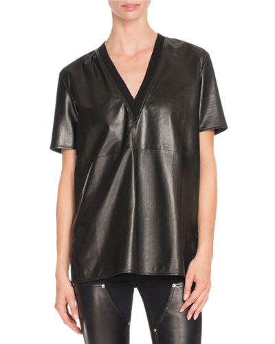 Short-Sleeve V-Neck Leather Tee, Black