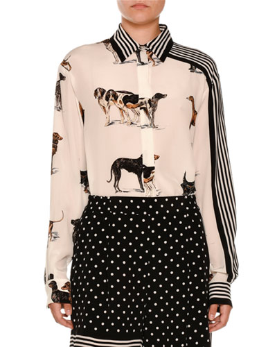 Stripe-Trim Dog-Print Silk Blouse, White
