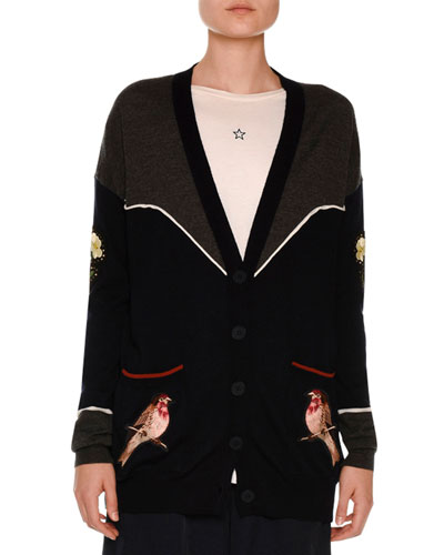 Western Bird-Embroidered Cardigan