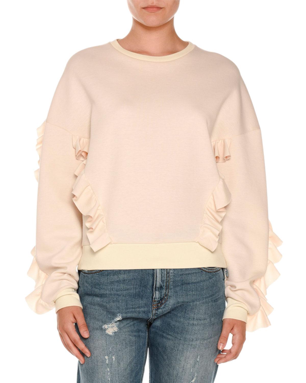 Ruffled Crewneck Sweatshirt, Ivory
