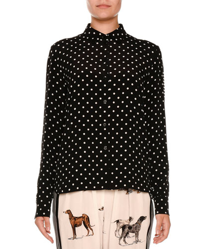 Polka-Dot Silk Blouse w/Striped Back, Black