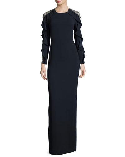 Ruffle-Sleeve Tulle-Back Gown, Dark Navy
