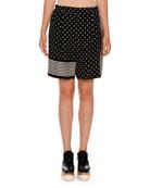 Polka-Dot Striped-Trim Shorts, Black