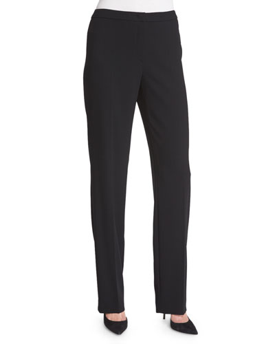 Tovah Straight-Leg Trousers, Black