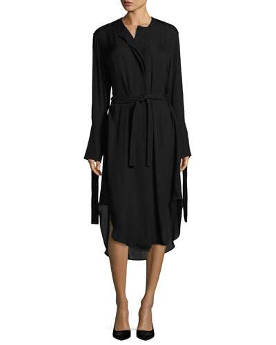 Belted Fluid Long-Sleeve Shirtdress, Black