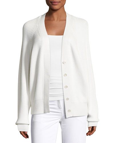 Cashmere Oversized Raglan Cardigan, White
