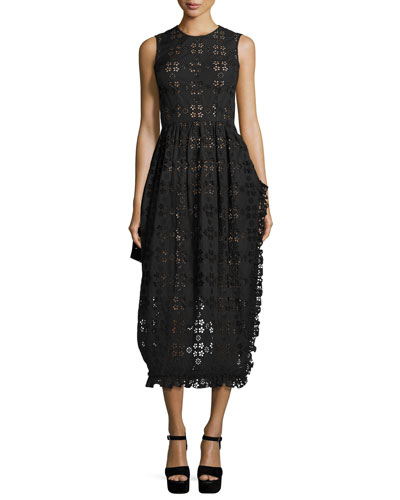 Eyelet Sleeveless Midi Dress, Black
