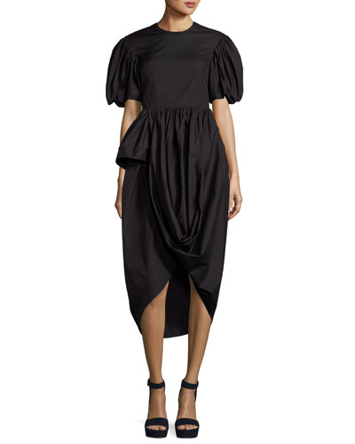 Short-Sleeve Tulip-Skirt Dress, Black