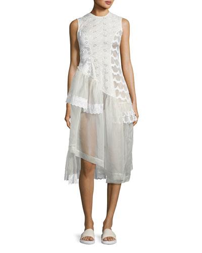 Sleeveless Eyelet Lace & Organza Patchwork Dress