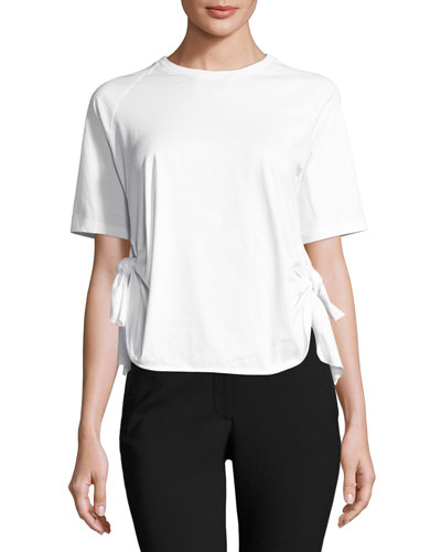 Knotted-Side Crewneck Tee, White