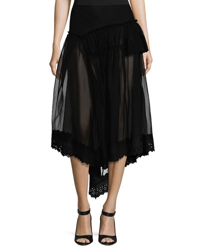 Silk Tulle Fishtail Skirt w/Eyelet Hem, Black
