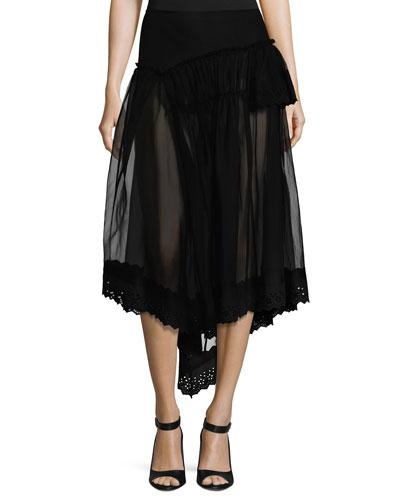 Silk Tulle Fishtail Skirt w/Eyelet Hem, Black