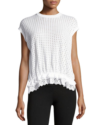 Ruffled Eyelet-Trim Cap-Sleeve Tee, White