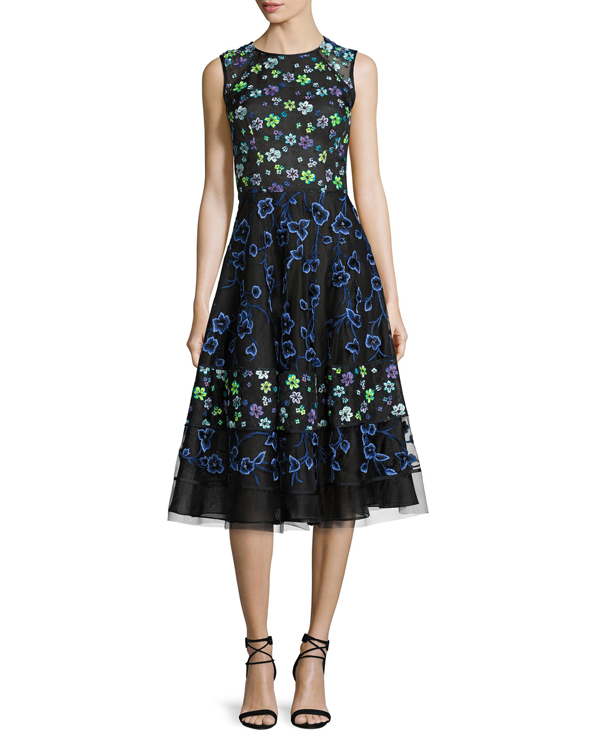 Floral-Embroidered Sleeveless Cocktail Dress, Black/Multi
