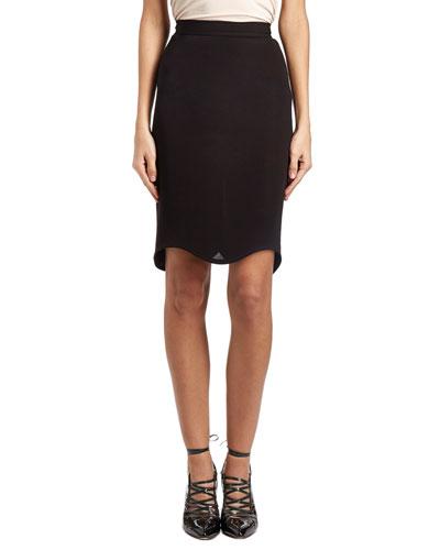 Scalloped-Hem Pencil Skirt, Black