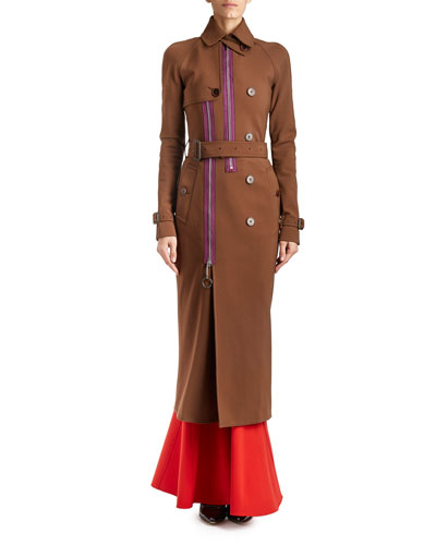 Zip-Trim Long Belted Trenchcoat, Chocolate