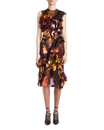 Orange Blossom Ruffled Sleeveless Dress, Black/Multi