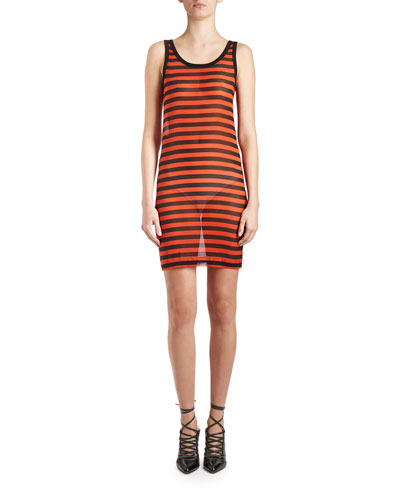 Striped Sheer Tank Dress, Black/Orange