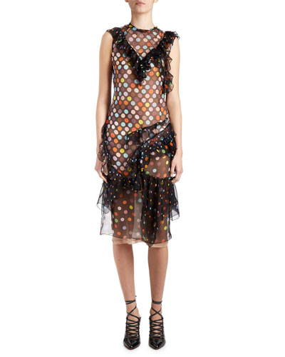 Vintage-Dot Ruffled Sleeveless Dress, Black/Multi